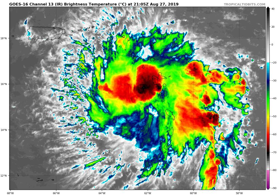 An infrared satellite view of Tropical Storm Dorian on August 27, 2019.