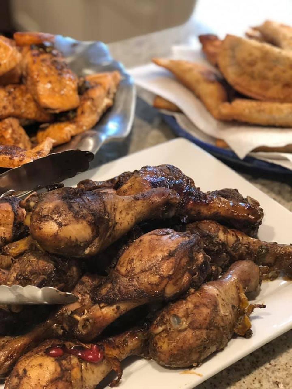 Chicken, fish and empanadas.