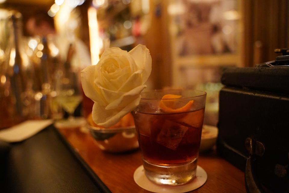 A cocktail featuring cognac, Grand Marnier and Pineau de Charantes at Bar Hemingway.