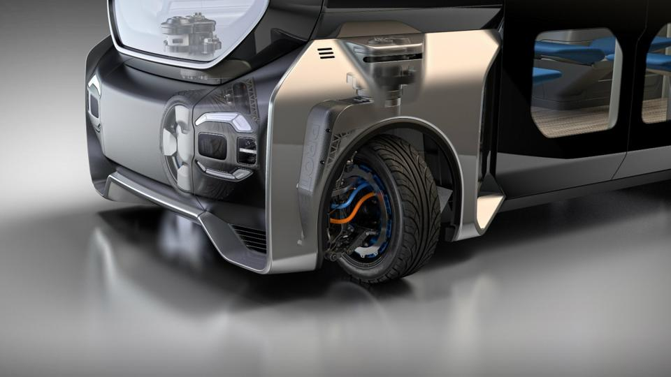 The Protean360+ system incorporates hub-motors and armatures that allow full steering rotation of the wheels.