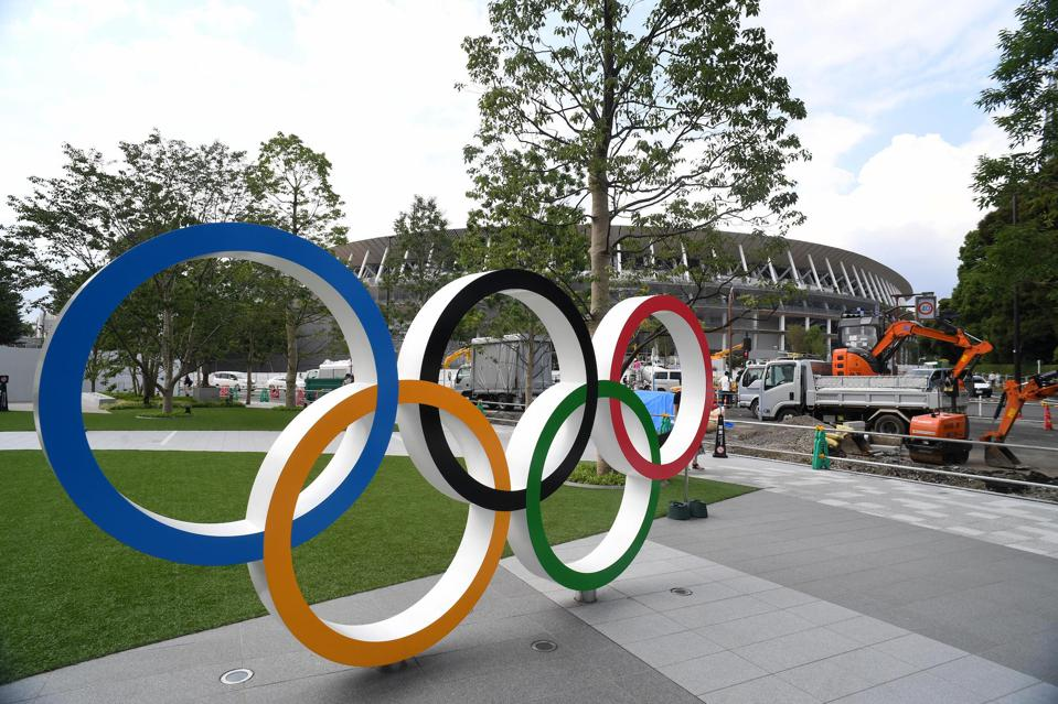 Olympic Rings displayed in front of the new national stadium.