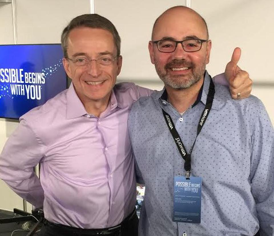 VMware CEO Pat Gelsinger and Heptio co-founder and CTO Joe Beda, on the day of the announcement of the former company acquiring the latter.