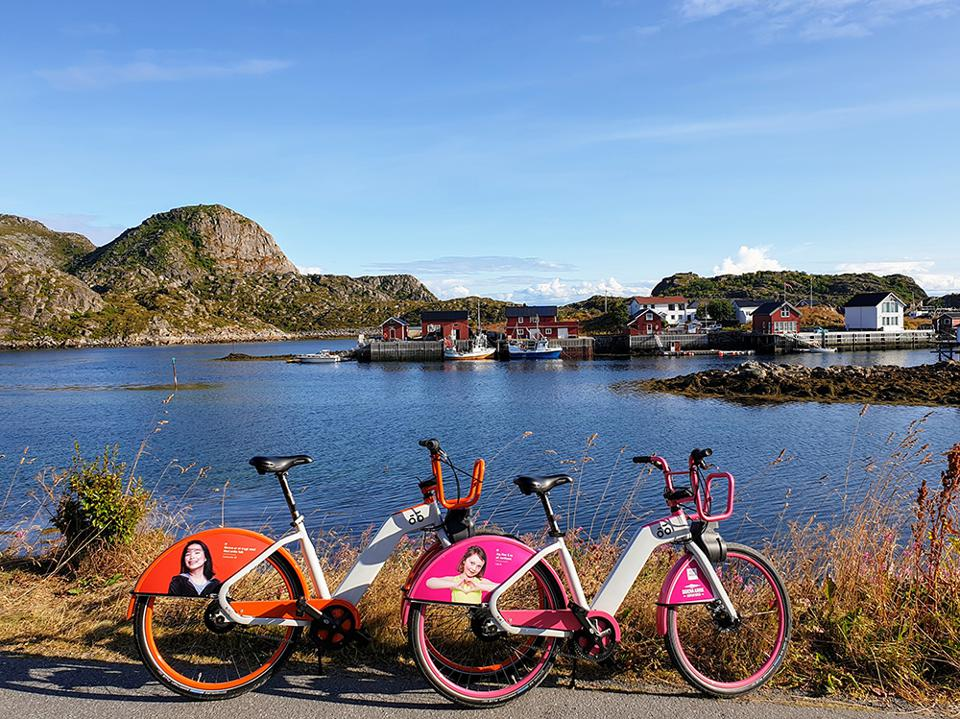 Two of the bicycles available for hire on the island of Skrova, Lofoten, Norway.