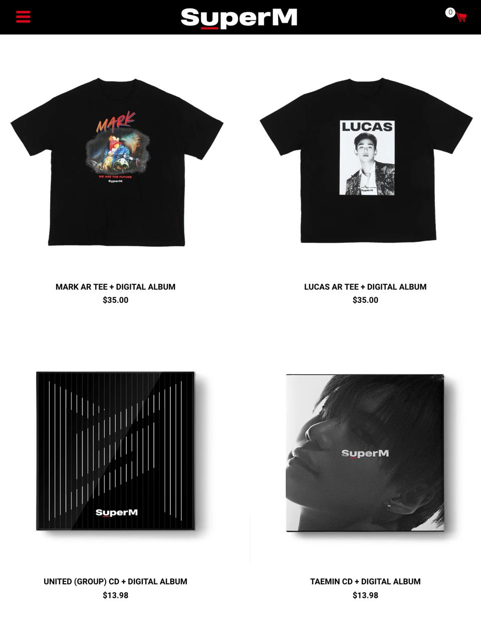 SuperM official store - AR Tee and CD photo.