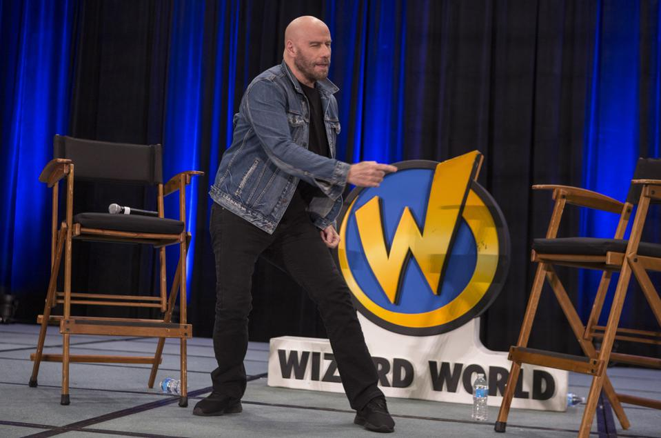John Travolta dances on stage during Wizard World Chicago. Saturday, August 24, 2019 at the Donald E. Stephens Convention Center in Rosemont, IL (Photo by Barry Brecheisen)