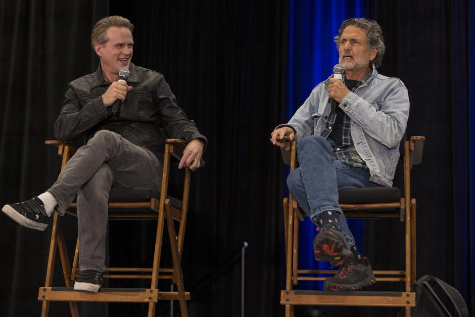 (Left to right) Cary Elwes and Chris Sarandon discuss the 1987 film The Princess Bride on stage at Wizard World Chicago. Saturday, August 24, 2019 at the Donald E. Stephens Convention Center in Rosemont, IL (Photo by Barry Brecheisen)