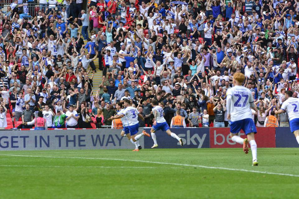 Tranmere celebrate a goal in the play-off final