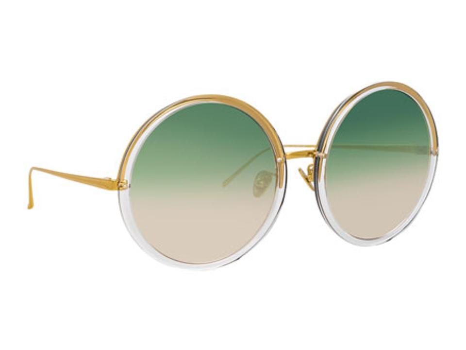 LINDA FARROW Semi Rimless Round Spectacles