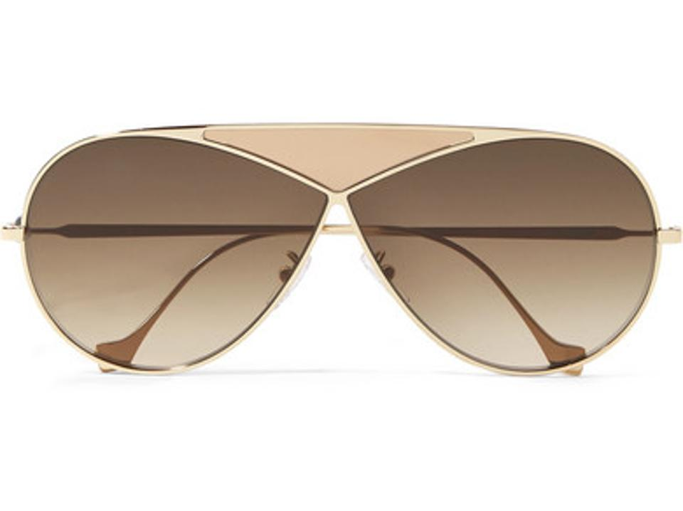 LOEWE Puzzle Gold and Leather Aviator Sunglasses