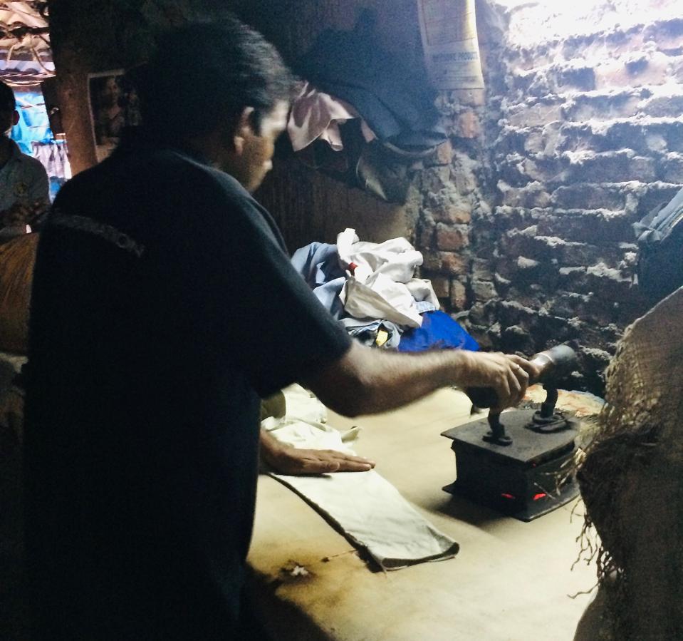 ironing in Dhobi Ghat