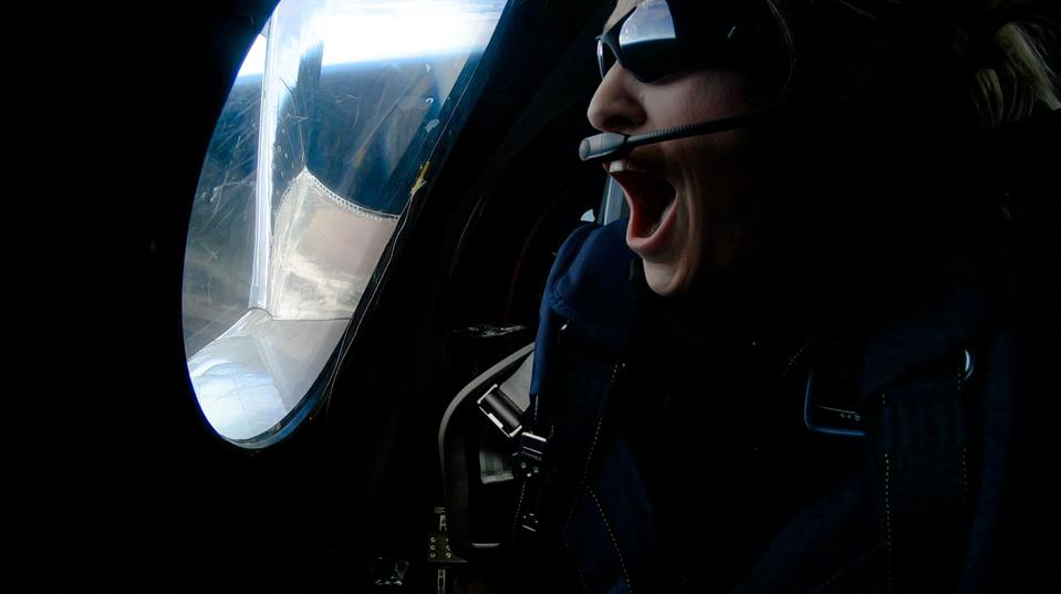 Virgin Galactic astronaut Beth Moses during her first flight to space.