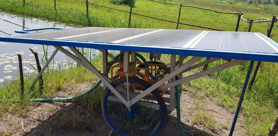 Solar panel used to irrigate farm land in Africa