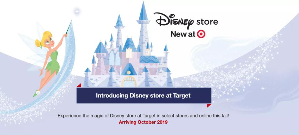 Screenshot of the Target website publicly announcing the Disney Store at Target.