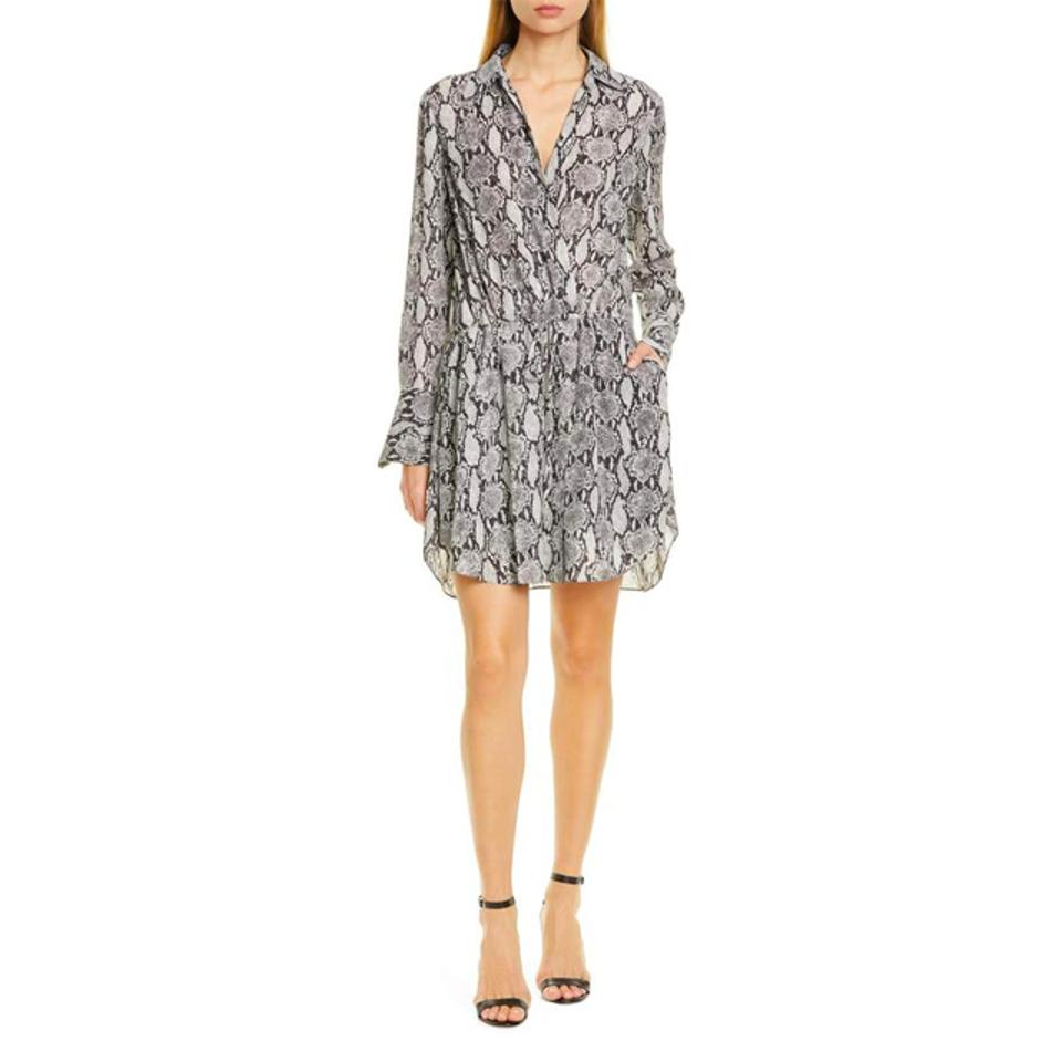A.L.C. Isobel Snakeskin Print Long Sleeve Silk Shirtdress