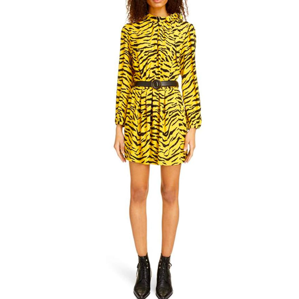 Saint Laurent Wrap Dress in Sablé with Zebra Print
