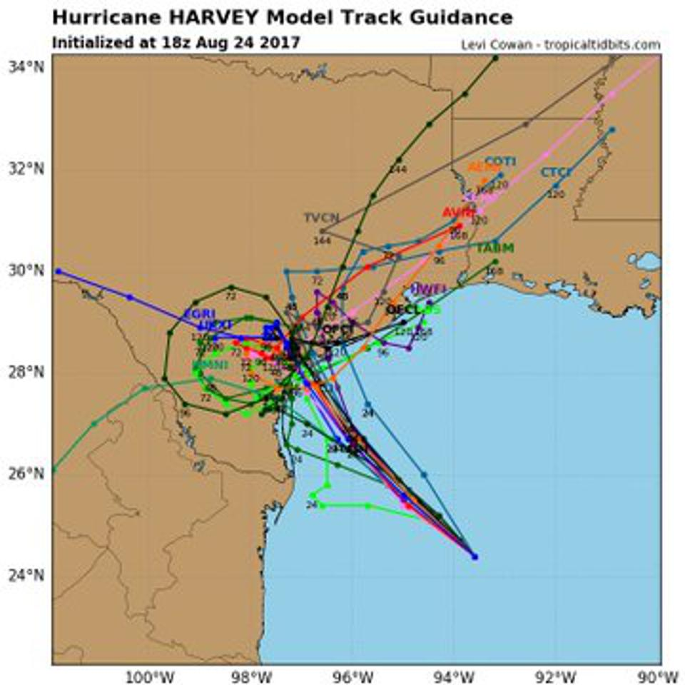 A spaghetti model plot for Hurricane Harvey in August 2017.