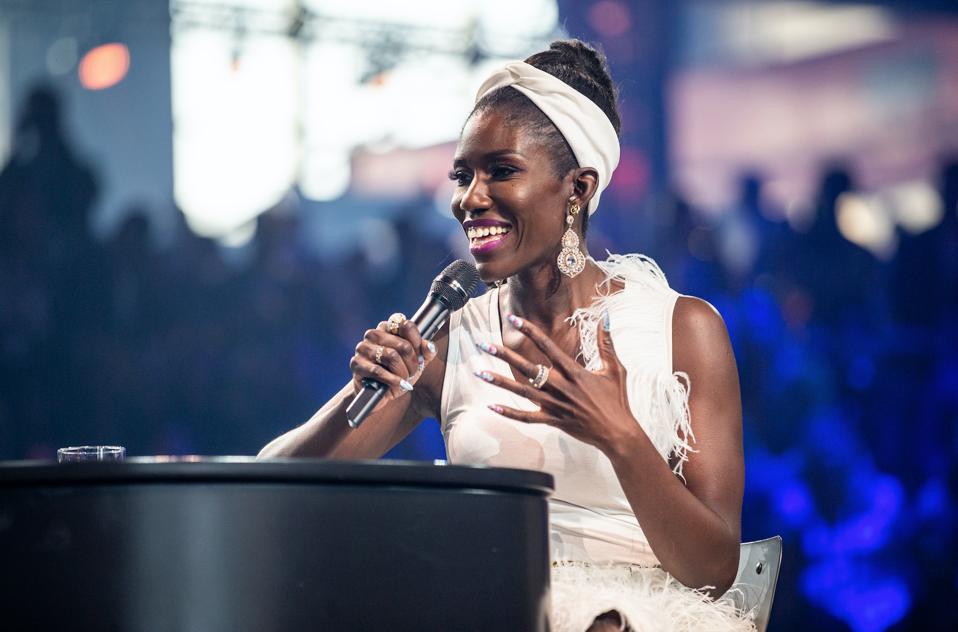 Bozoma ″Boz″ Saint John speaking at C2 Montreal, Photo Credit: Arianne Bergeron