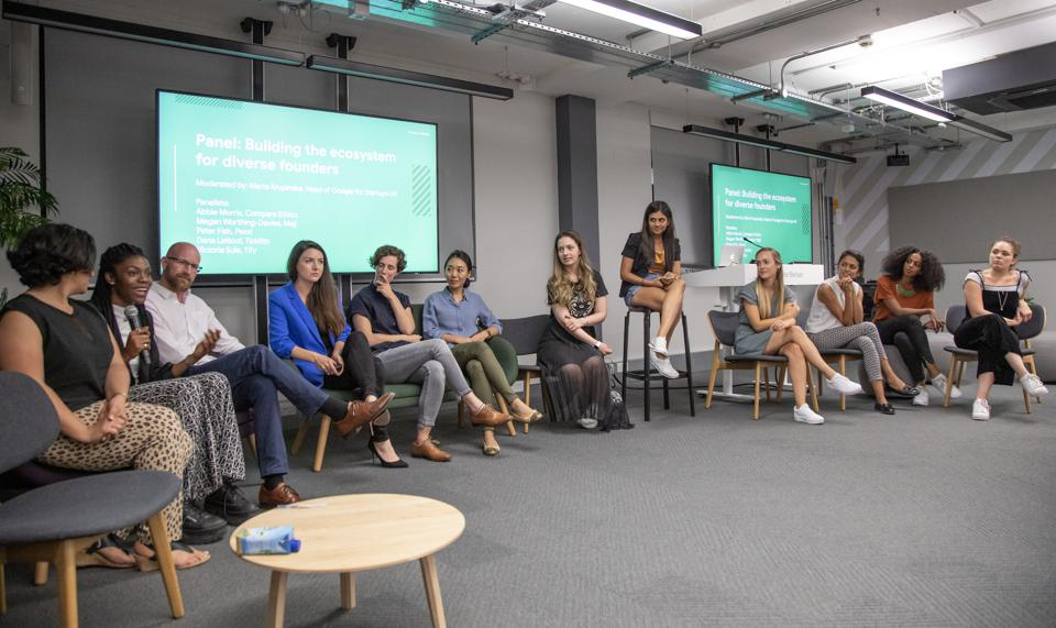 Google Female Founder Startup Cohort and supporters on a diversity panel