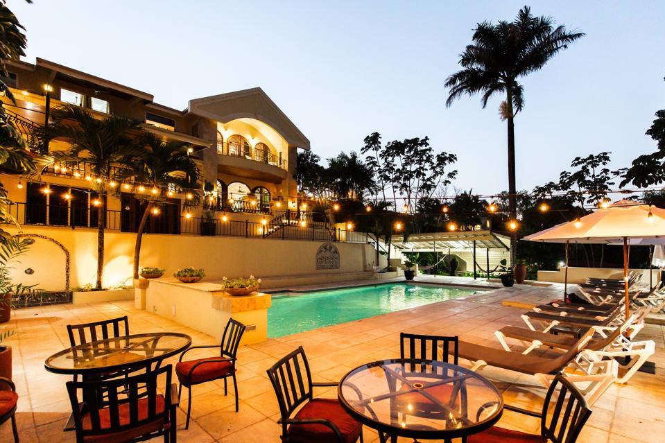 San Ignacio Resort Hotel as night falls