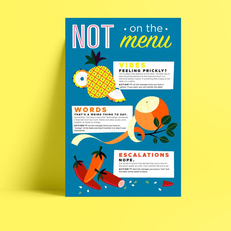 Not On The Menu poster for restaurants. Preventing sexual harassment