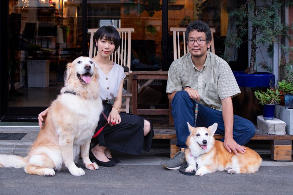 Two adults, two dogs