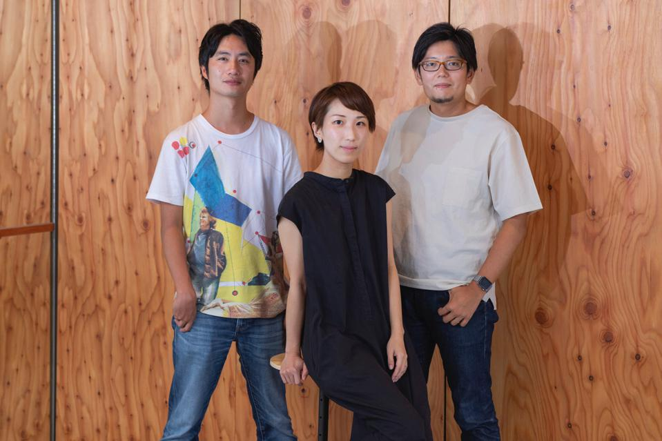 Empath CSO Hazumu Yamazaki, Sales/PR Manager Miho Chiba, and CEO Takaaki Shimoji (left to right) believe that AI systems that detect human emotions can make communication smoother and more effective.