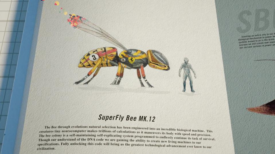 Futuristic depiction of bumblebee like flying vehicle that was made with synthetic biology.