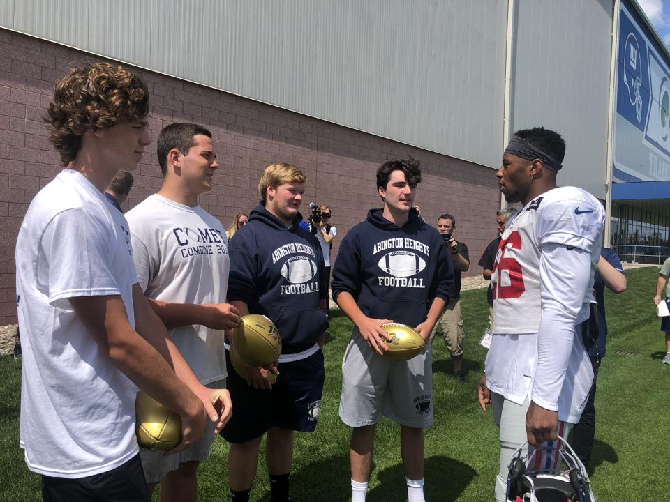 Four players from Abington Heights High School won a chance to work out with Giants running back Saquon Barkley.