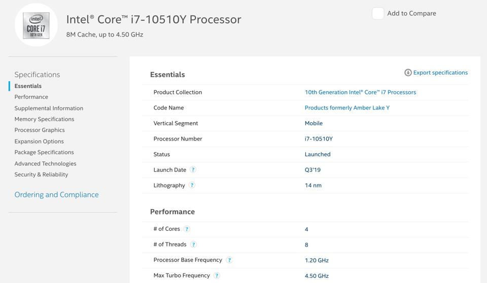 This 'formerly Amber Lake Y' quad-core processor is actually a 10th Generation Comet Lake processor.