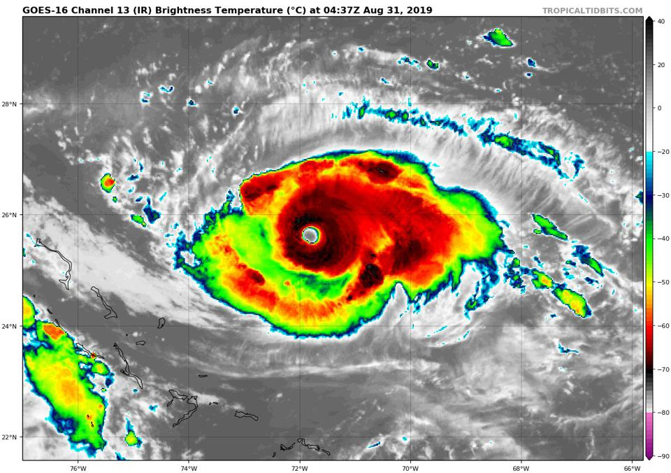An infrared satellite image of Hurricane Dorian at 12:37 AM EDT on August 30, 2019.