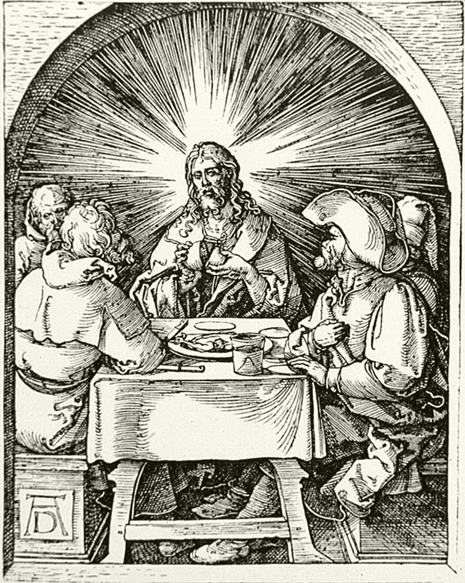 Albrecht Dürer, German, 1471-1528, Christ in Emmaus from The Small Passion, ca. 1510, Woodcut, Memphis Brooks Museum of Art; Gift of Madonna Circle  60.20.32.