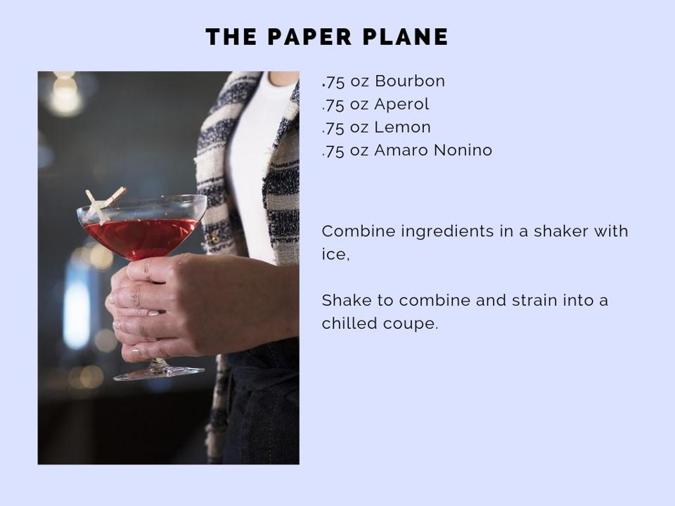 The Paper Plane cocktail.