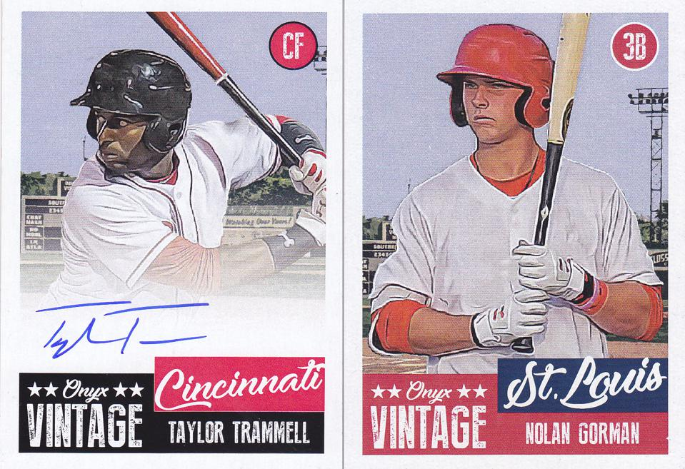 Top prospects Taylor Trammell and Nolan Gorman are a few who make up Onyx Authenticated 2019 Vintage brand set.
