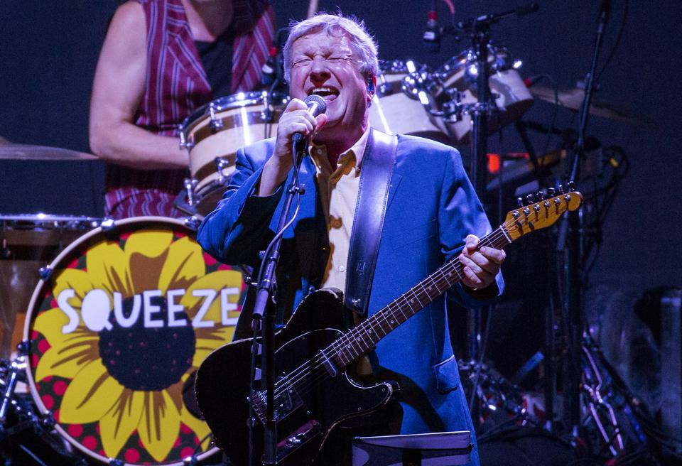 Glenn Tilbrook performs with Squeeze on stage at Chicago Theatre. Saturday, August 31, 2019 (Photo by Barry Brecheisen)