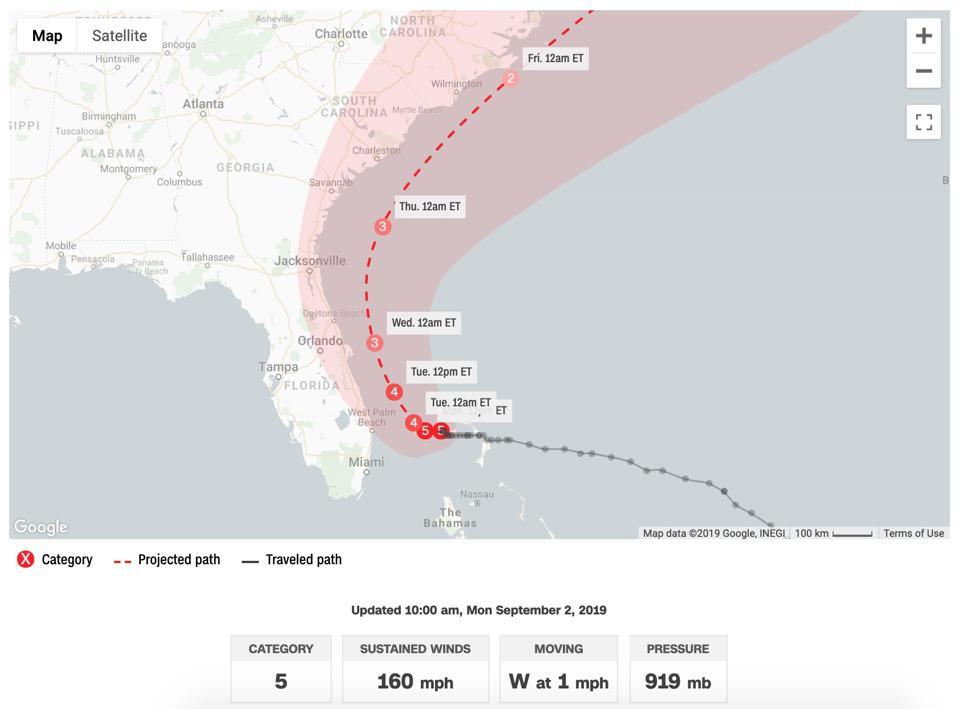 Hurricane Dorian live path