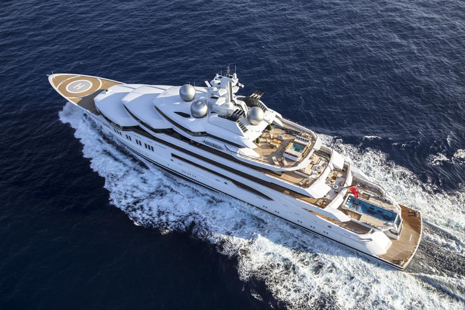 Superyacht Sneak Peek: New Photos Of The Secretive 348-Foot-Long Superyacht AMADEA Are Seen For The First Time