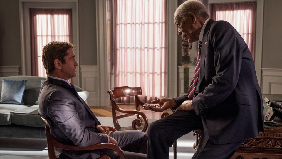 Morgan Freeman gives Gerard Butler a foot massage in 'Angel Has Fallen'