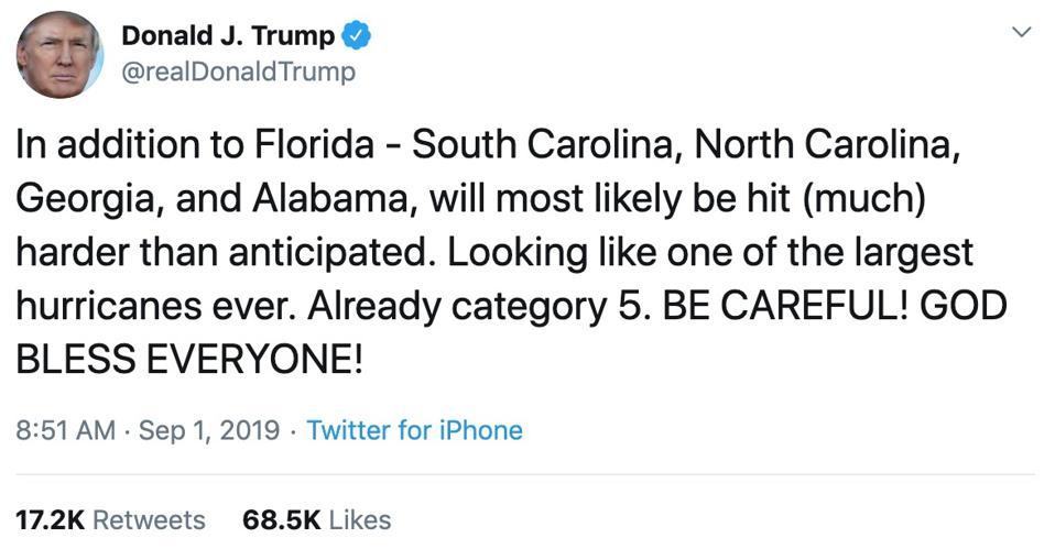 President Trump's Hurricane Dorian tweet
