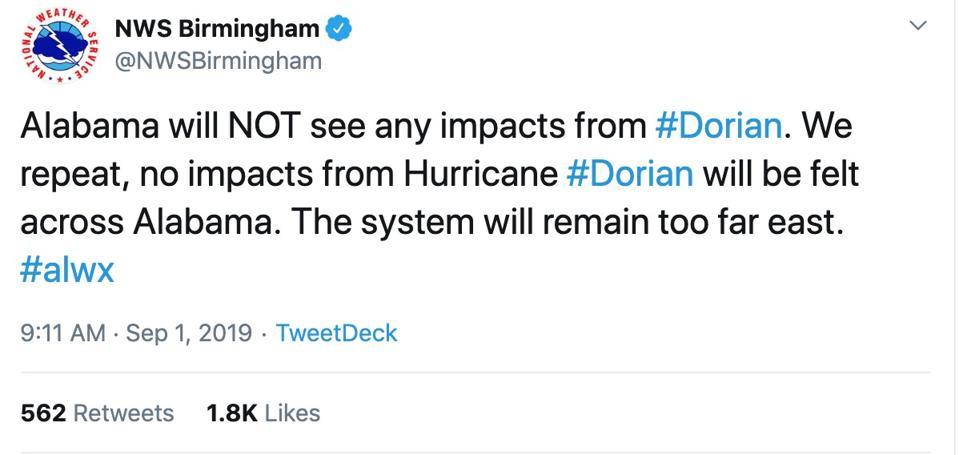 Alabama's NWS response to President Trump's tweet