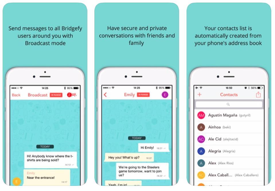 Screenshots of Bridgefy's iOS app