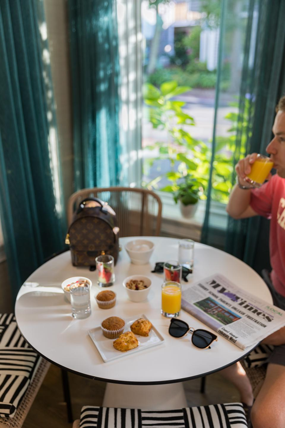 EDGARTOWN, MA - The classic Lark Hotels small plates breakfast at the Sydney Hotel on Martha's Vineyard
