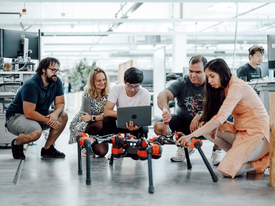 FAIR team with Facebook's hexapod robot, Daisy