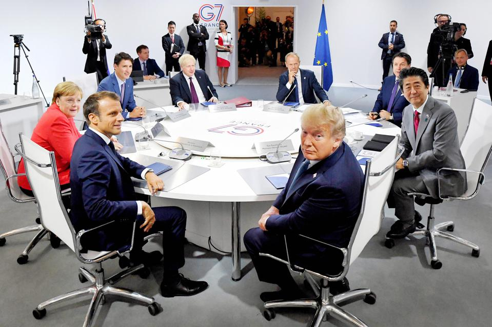 Leaders meet for the first working session of the G7 Summit.