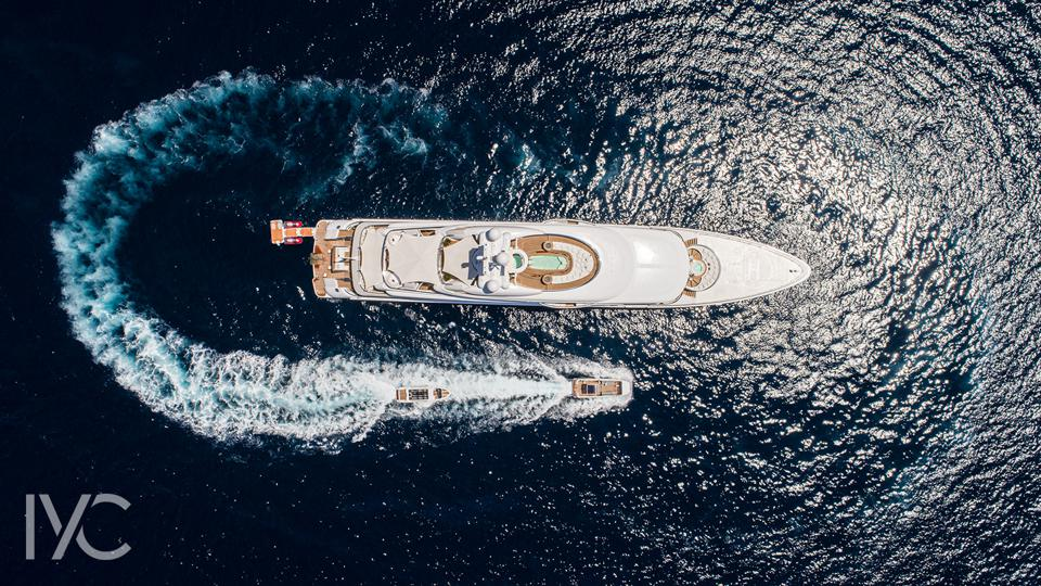 280-foot-long superyacht Valerie from the air