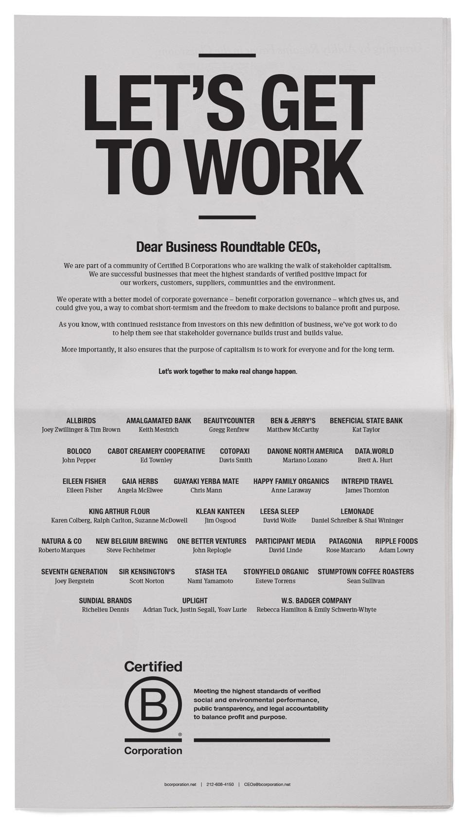 Certified B Corporation ad in The New York Times