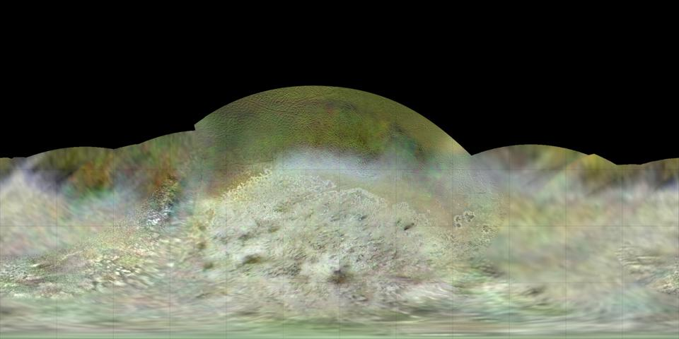 Dr. Paul Schenk, a scientist at the Lunar and Planetary Institute in Houston, used Voyager data to construct the best-ever global color map of Triton. This map has a resolution of 1,970 feet (600 meters) per pixel.
