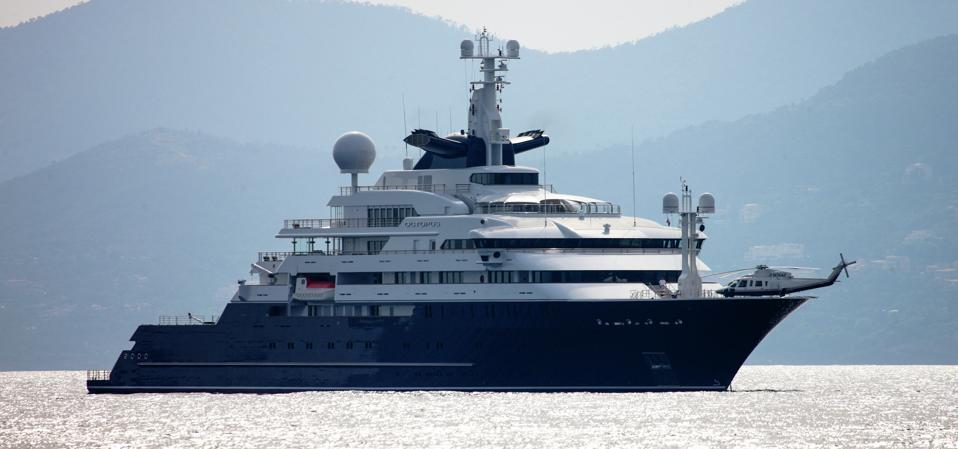 Paul Allen's 414-foot long superyacht and it's helicopter on the bow.