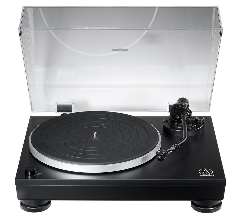 Audio-Technica AT-LP5x turntable with lid open.