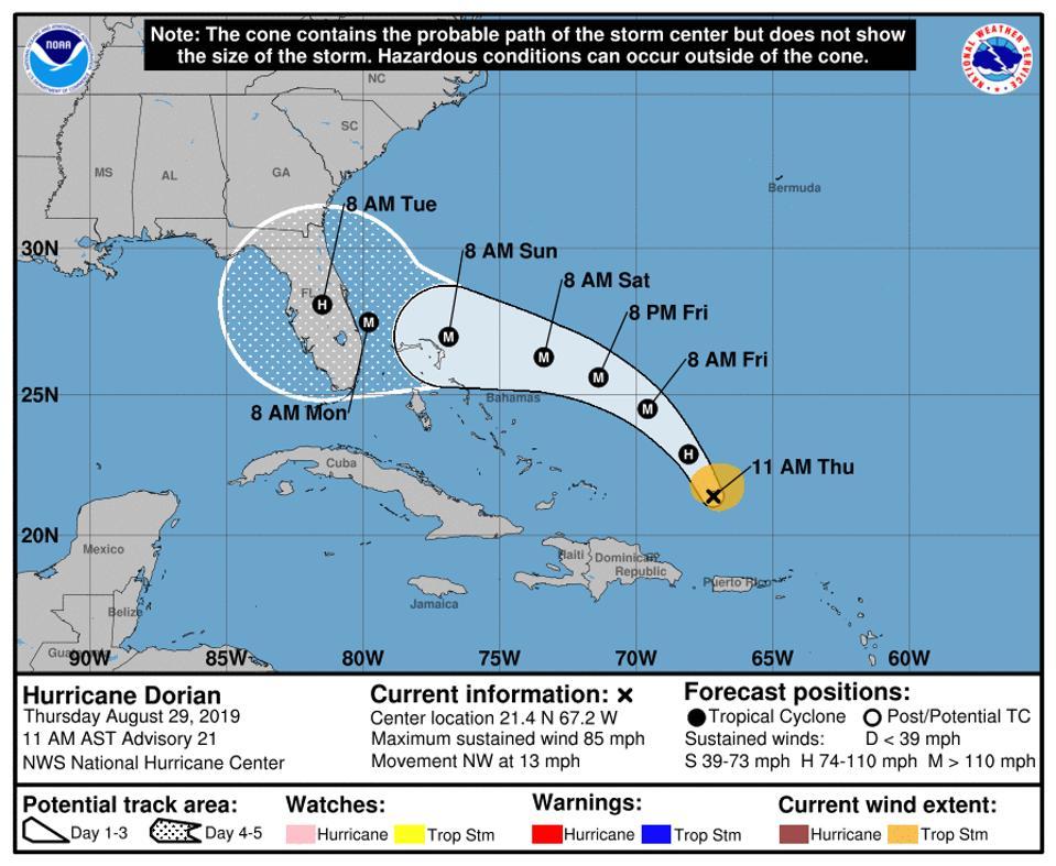The National Hurricane Center's official forecast for Hurricane Dorian on August 29, 2019.