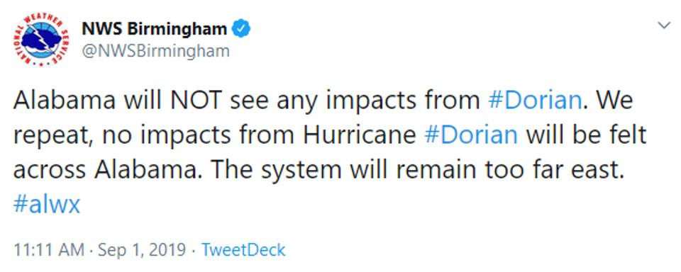 NWS Birmingham had to reassure residents they'd feel no impacts from Hurricane Dorian.